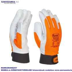 Kecske színbőr kesztyű, jól láthatósági narancssárga kézháttal, tépőzárral, 8-as méret