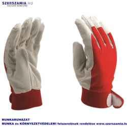 Törtfehér kecske színbőr kesztyű vörös kézháttal 8-as méret