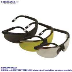 Védőszemüveg, fekete/sárga kerettel, fekete szárral, sárga lencsével