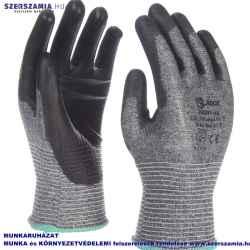 Szürke, vékony 3-as vágásbiztonságú kesztyű, fekete PU mártással, méret: 8