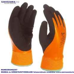 Narancssárga, bélelt, csuklóig vízálló kesztyű, fekete latex mártással, méret: 9