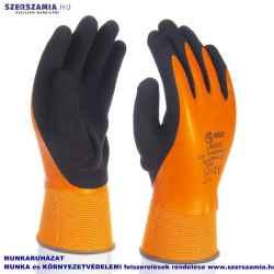 Narancssárga, csuklóig vízálló latex-mártott kesztyű, fekete érdes latex mártással, méret: 11