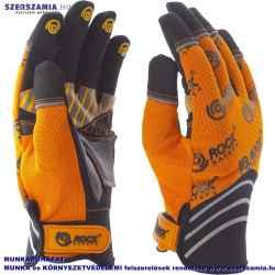 Mechanikai kesztyű, sárga-fekete tenyérfolttal, narancssárga kézháttal, XXL-es