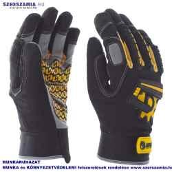 Mechanikai kesztyű, sárga, tenyérfolttal, beütődés elleni védelemmel, XXL-es
