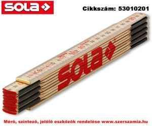 Fa mérővessző 2 m H 2/10 natúr szín, EK-osztály 3 SOLA