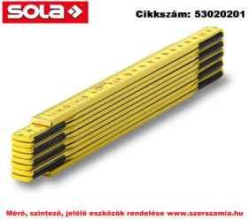 Fa mérővessző 2 m HG 2/10G sárga, EK-osztály 3 SOLA