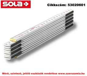 Fa mérővessző 2 m HW 2/10 fehér, EK-osztály 3 SOLA