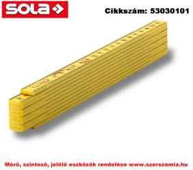Műanyag mérővessző 2m HK 2/10 G sárga, EK-osztály 3 SOLA