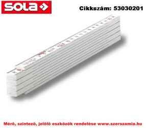 Műanyag mérővessző 2m HK 2/10 W fehér, EK-osztály 3 SOLA