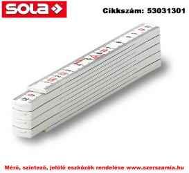 Műanyag mérővessző 1m HKM 1/10 W fehér, EK-osztály 3 SOLA