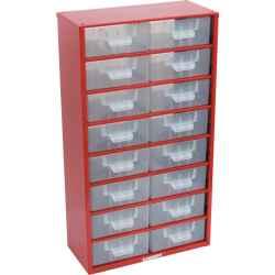Tárolószekrény apró alkatrészekhez, 16-fiókos 551,0mmx306,0mmx155,0mm SCM016