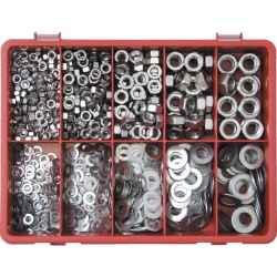 Anyacsavar és alátétgyűrű készlet A2 (890 darabos) rozsdamentes acél