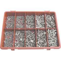 Pozidriv D-fejű tövig menetes csavar készlet A2 (500 darabos) rozsdamentes acél