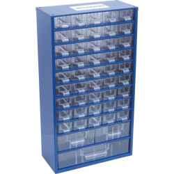 Szekrényke kisméretű alkatrészek tárolására 48 fiókos SCC048