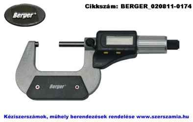 BERGER Digitális kengyeles mikrométer IP54 0-25/0,001mm