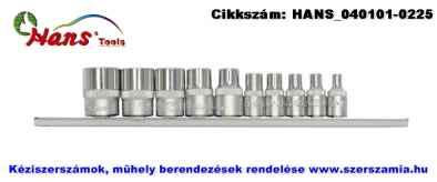 HANS 1/4 col plusz 3/8 col E-STAR dugókulcsfej készlet 10 részes E4-E18 5610E