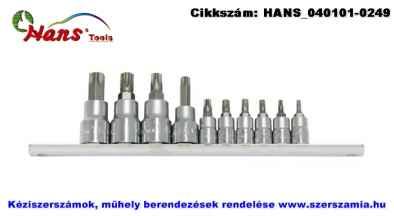 HANS 1/4 col plusz 3/8 col TORX bit-dugókulcsfej készlet 10 részes TX10-TX55 56024-10