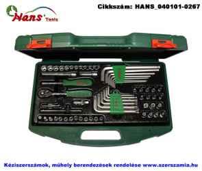 HANS 1/4 col dugókulcs plusz hajlított csavarkulcs készlet 62 részes TTK-22 szerszámos ládában