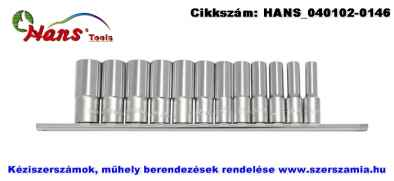 HANS 3/8 col hosszú dugókulcsfej készlet 12 részes 8-19x63mm 3612MD