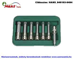 HANS 1/2 col XZN-12Pt hosszú bit-dugókulcsfej készlet 7 részes M5-M16 46028-47