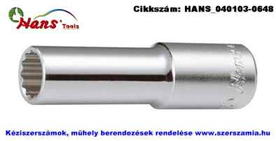 HANS 1/2 col hosszú dugókulcsfej 12 szögű 8x76mm 4302M08