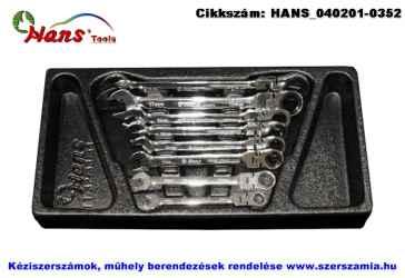 HANS racsnis csillag-villás kulcs csuklós készlet 8 részes 8-19mm TT-33 fiókmodul