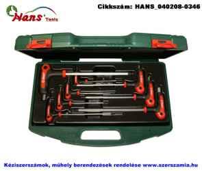 HANS T-nyelű gömbvégű imbuszkulcs készlet 8 részes SW2-10 TTK-20 szerszámos ládában