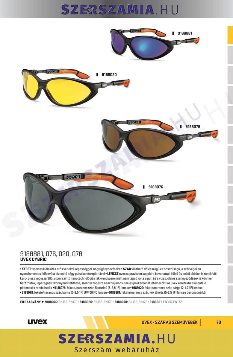 bc1b9cc55f UVEX Cybric szemüveg,fekete/narancs keret, kék tükrös lencse, 1 darab